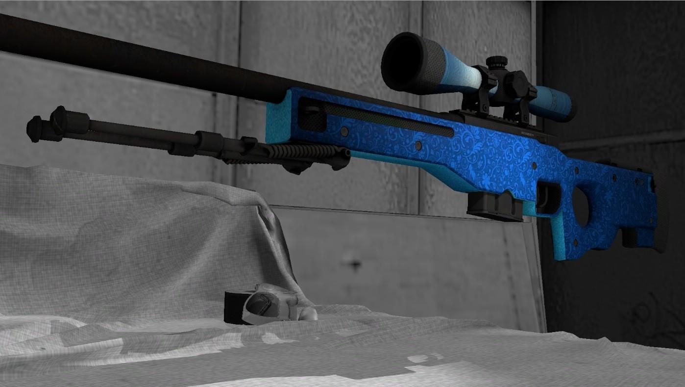 Модель AWP Голубые листья для CS GO