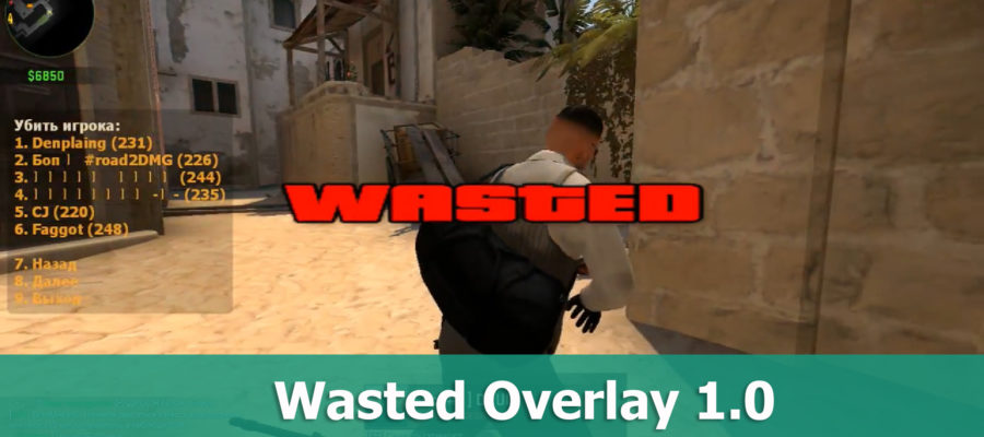 Плагин WASTED OVERLAY для CS GO
