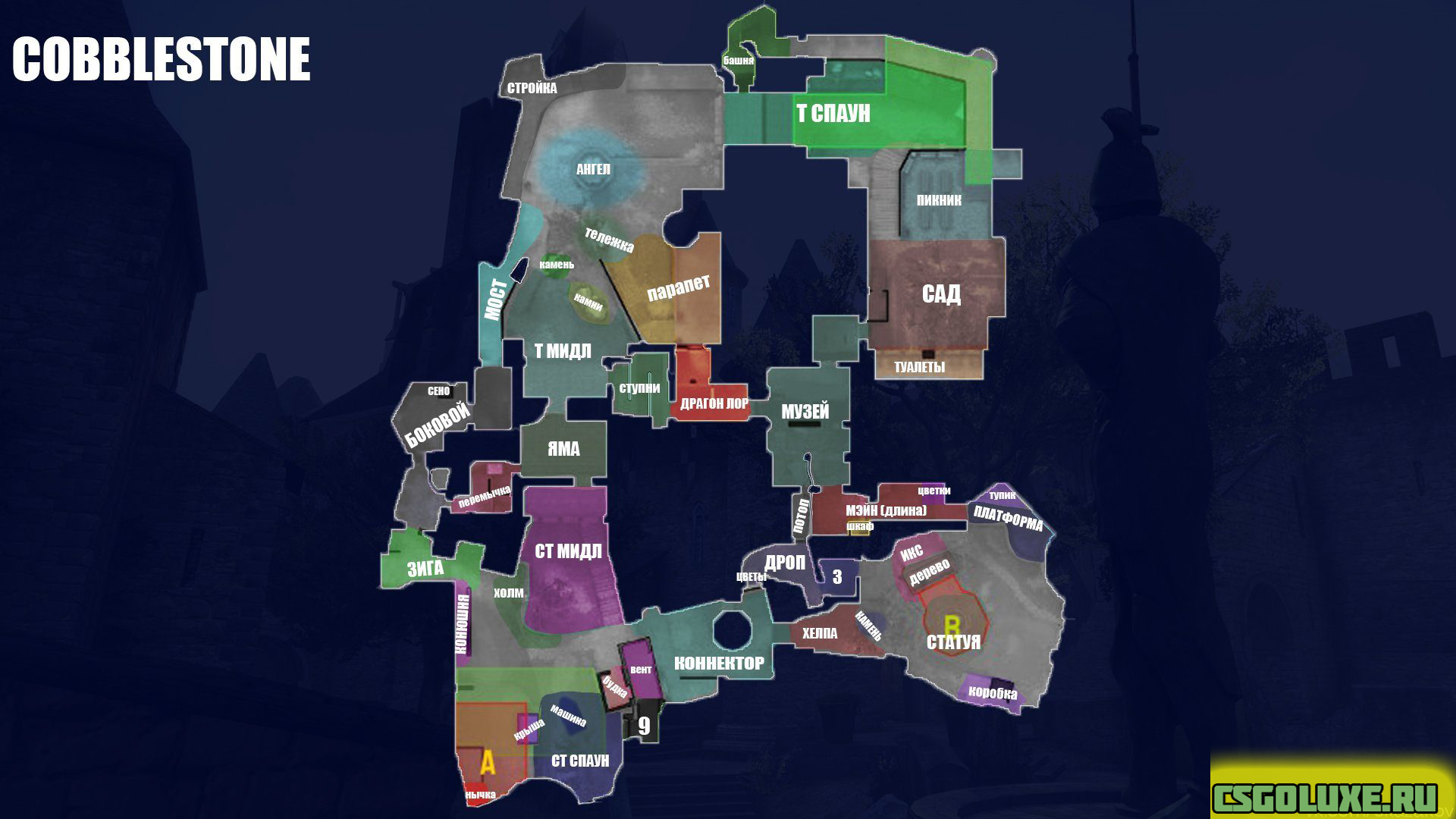 Обозначение точек на карте Cobblestone